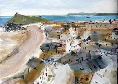 Hybrid Gallery Jane Askey Porthmeor and St Ives Rooftops from the Tate Café