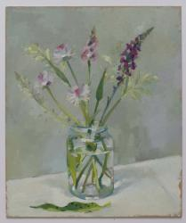 Orchid, Chives and Grasses in a Jam Jar