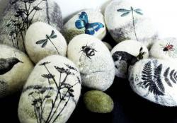 Designs on Felted Pebbles