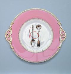 Worcester Plate with Spoons and Red Ribbon