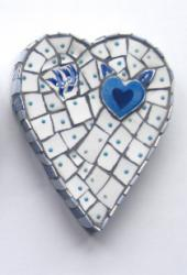 Blue Heart with Swallows