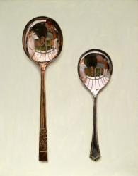 Two Rounded Spoons with Decorative Handles