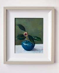 Hybrid Gallery Annie Waring Camellia Bud in a Mdina Vase