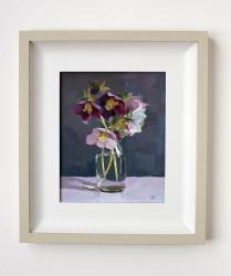 Hybrid Gallery Annie Waring Hellebores in Small Milk Bottle
