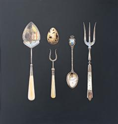 Hybrid Gallery Rachel Ross Quail's Egg with Fork and Spoon