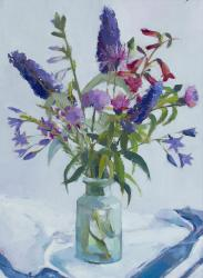 Hybrid Gallery Annie Waring Buddleia, Penstemon with Blue Cloth