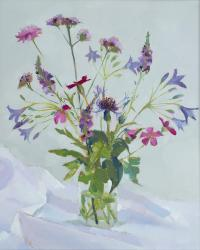 Hybrid Gallery Annie Waring Triteleia and Verbena on White Cloth