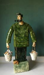 Hybrid Gallery Joe Lawrence Fisherman in a Green Jumper with Buckets of Fish