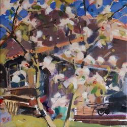 Hybrid Gallery Richard Sowman Apple Blossom with Wheelbarrow