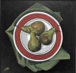 Hybrid Gallery Gill Hamilton Three Pears on Green Napkin
