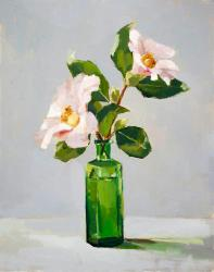 Hybrid Gallery Annie Waring Two Camellias in Green Bottle