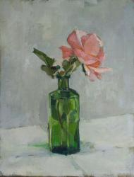 Hybrid Gallery Annie Waring Green Bottle with Rose
